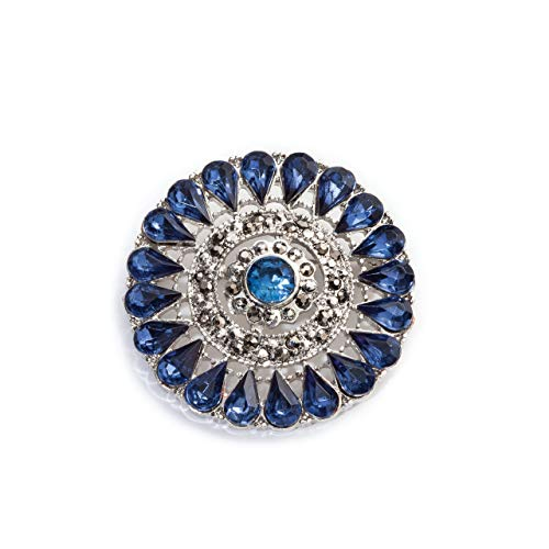 DEMDACO Blue Jeweled Medallion Silvertone Women