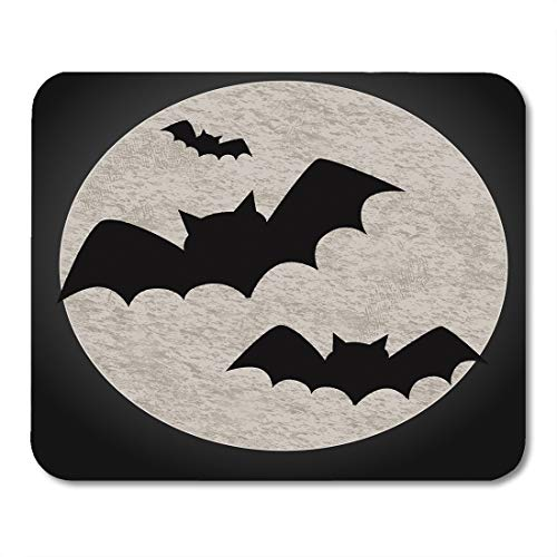 Emvency Mouse Pads Animal Halloween Featuring Bats and Full Moon Flying to Autumn Back Big Mouse pad 9.5