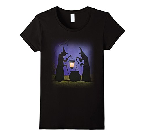 Womens Piece Witch Stake Cauldron Pot Solar Lighted Lantern Shirts Large (Lighted Costumes)
