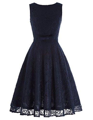 Belle Poque Women's Swing Dress V-Back Sexy Lace Vintage Cocktail Dress L Navy Blue BP272-2
