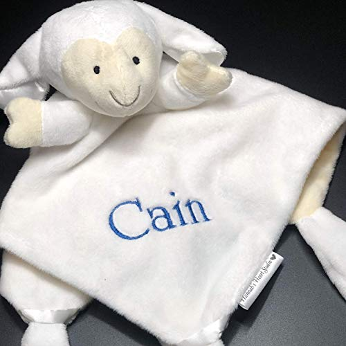 Baby Snuggle Buddy Security Lovey Lovie Cuddle Blankie Blanket - Personalized (White Lamb with Embroidered Name) - Embroidered Lamb