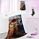 DayDayFun Patterned Towels Safari Super Soft, Heavy Weight & Absorbent Wild Angry Tiger Portrait L - Contain 1 Bath Towel 1 Hand Towel 1 Washcloth