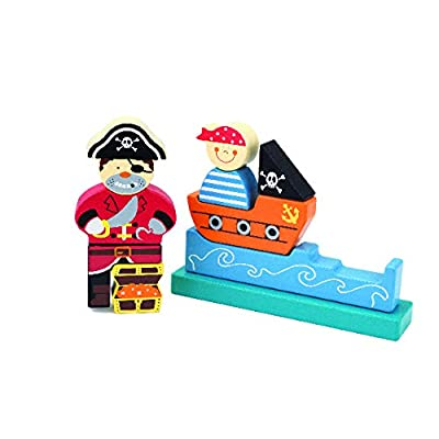 Edushape Kids Stacking Blocks - Promotes Development of Toddlers Motor Skills and Hand-Eye Coordination - Includes 10 Magnetic Pieces Creating A Pirate: Toys & Games