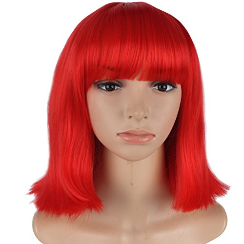 WeKen Women Cosplay Wig Short Bob Straight Hair Full Bangs Synthetic Bright (Bright Red Hair Costumes)