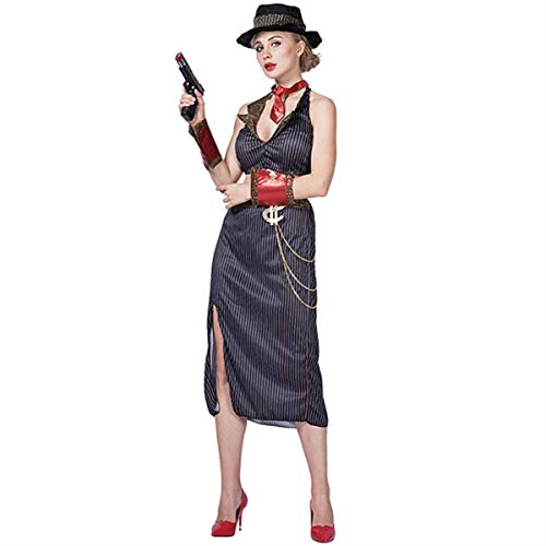 Halloween Costume for Women Gangster Girl Costumes Fantasias Adulto Feminino Carnaval Party Wear Sexy Moll Cosplay Dress(Black,L)