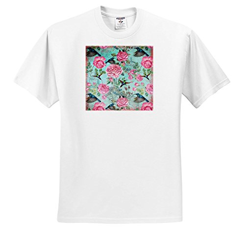 3dRose Uta Naumann Watercolor Pattern - Vintage Watercolor Roses Pattern With Hummingbirds In Aqua - T-Shirts - Adult T-Shirt 5XL (Hummingbird Rose T-shirt)