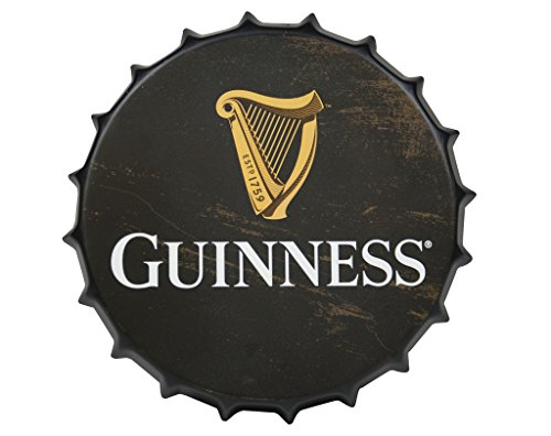 (Guinness Vintage Aluminum Bottle Cap Sign (Black) - Metal Wall Decor)