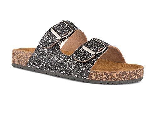 Twisted Women's Payton Double Strap Cork Sole Sandal - PAYTON59 Pewter, Size 9