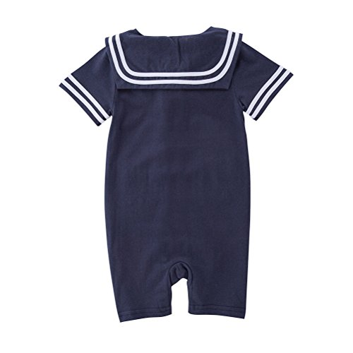 May's Baby Toddler Boys Sailor Stripe Romper Marine Navy Romper Onesie Outfit Navy 12-18 Months