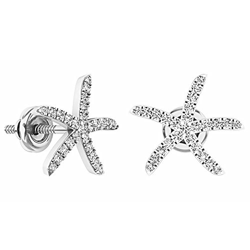White Gold Starfish Earrings (0.25 Carat (ctw) 14K White Gold Round White Diamond Ladies Starfish Earrings 1/4 CT)
