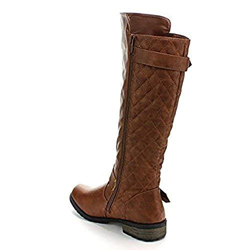 Forever Link Women's Mango-21 Quilted Zipper Accent Riding Boots MVE Shoes MVE Shoes Mango 21 Tan NB Size 10