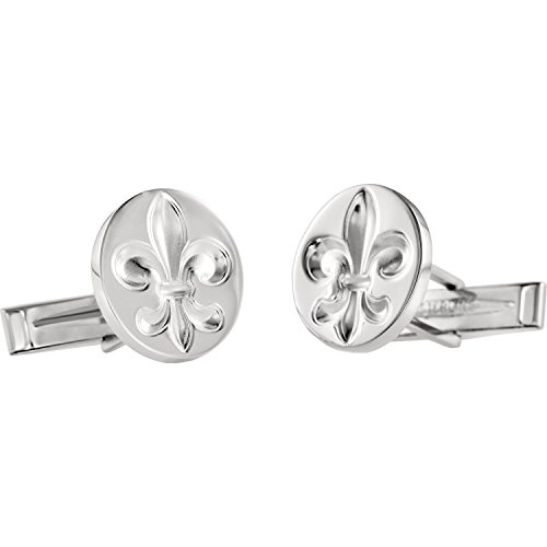 Men's .925 Sterling Silver Solid Fleur De Lis Cuff Links- Polished, Rhodium-Plated
