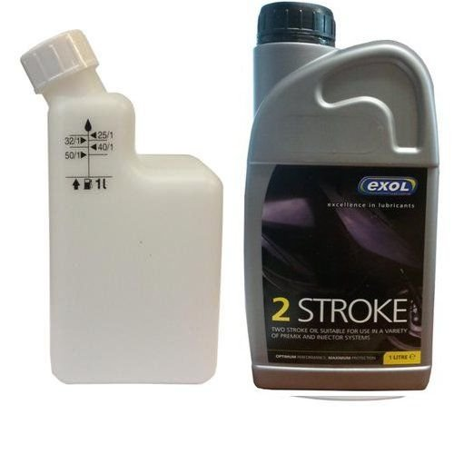 Exol 1 Litre two stroke Oil with mixing bottle - motorbike lawnmower chainsaw strimmer scooter moped 2 stroke oil 2T