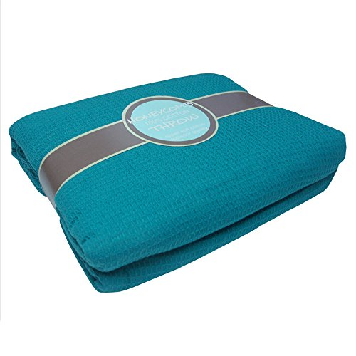 Settee Bed (100% Cotton Honeycomb Woven Sofa Bed Chair Throw Settee Cover Blanket Teal 50