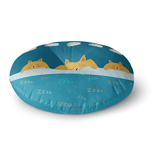 KESS InHouse Cristina Bianco Design Sleeping Cats Zzzz Teal Animals Round Floor Pillow, 26'' by Kess InHouse