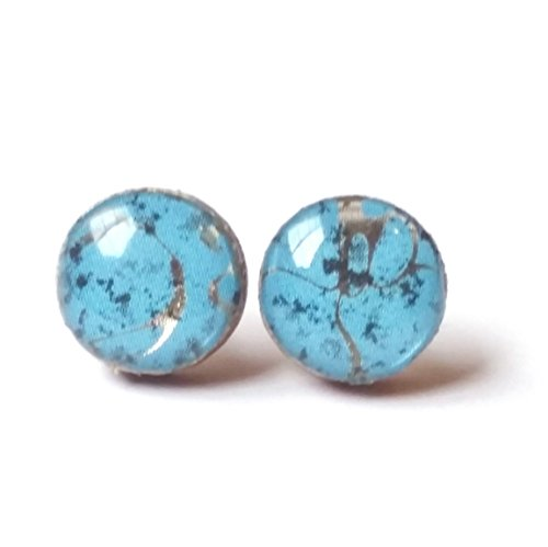Handmade turquoise with black and metallic gold print wooden stud earrings 10mm jewelry (Earring Santa Pattern)
