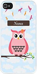 """Rikki KnightTM """"Nana"""" Name - Cute Pink Owl on Branch with Personalized Name Design iPhone 5 & 5s Case Cover (White Rubber with bumper protection) for Apple iPhone 5 & 5s"""
