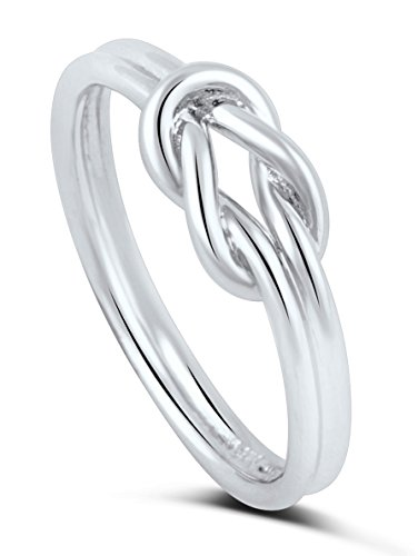 Sterling Silver High Polish Double Band Love Knot Infinity Ring (8)