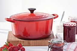 Le Creuset Enameled Cast-Iron 5-1/2 Quart Round French Oven, Cherry Red