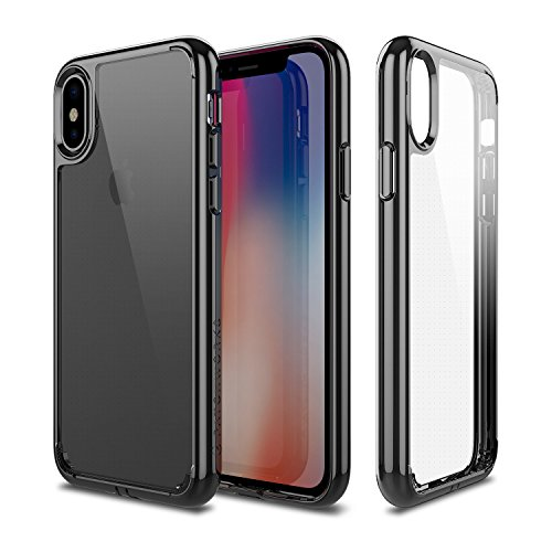 PATCHWORKS iPhone X Clear Case, [Pure Shield] Smudge-Free Back PC Soft TPU Grip Bumper with Air Pocket Corner Impact Drop Protection Case [Wireless Charging] for iPhone X (2017) (Black Clear)