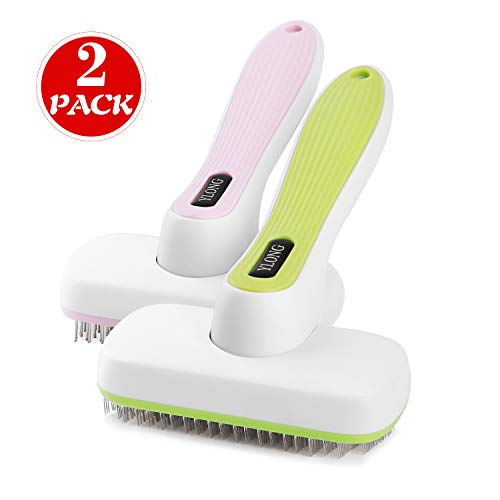 (YLONG Self Cleaning Slicker Brush & Massages Brush 2 Pack Professional Pet Grooming Brush for Small Medium Large Dogs and Cats,with Short to Long Hair)