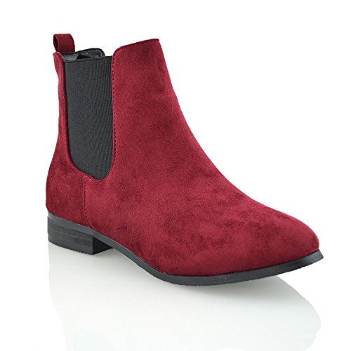 ESSEX GLAM New Womens Ladies Chelsea Block Heel Faux Suede Elastic Work Ankle Boots Size Burgundy Faux Suede TZFjAEpc