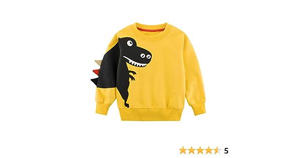 YanHoo Ropara niños Camiseta de Manga Larga Sudaderas De Manga Larga con Estampado Animal de Dibujos Animados para niños, además de Terciopelo Grueso, ...