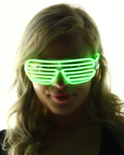 Light Up Shutter Shades Glasses (Lime - Cheap Sunglasses Electric