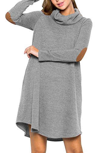 LaSuiveur Long Sleeve Knitted Sweater Dress Scarf Neck Patchwork Tunic Shirts Grey L