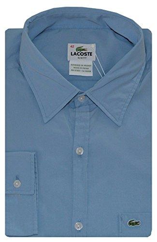 Lacoste Men Slim Fit Solid Logo Shirt (40/M, Light blue)