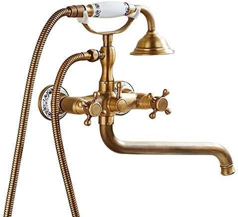 YYHENアンティークブロンズセラミックシンプルなシャワーセットハンドシャワーシステム電話モデリング蛇口2機能ブロンズ