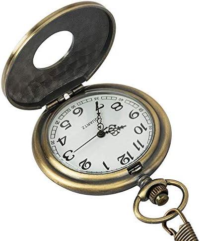 YXZQ懐中時計、ヴィンテージスチームパンクブロンズクォーツローマ数字時計の時刻ポケットメンズレディースネックレスペンダントギフト