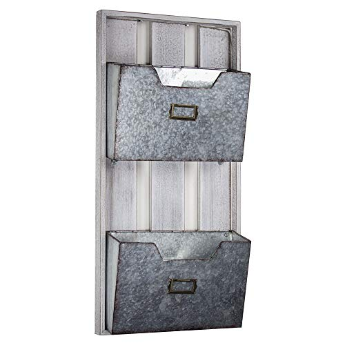 American Art Décor Galvanized Metal Wall Organizer 2 Pocket File Magazine Rack by American Art Décor