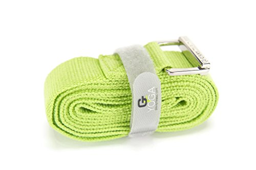 Gravity Fitness Yoga Strap, Friction-less Easy-Feed Buckle, Super Soft Cotton/Polyester Blend Webbing, Free eGuide. (Green, 8 Feet)