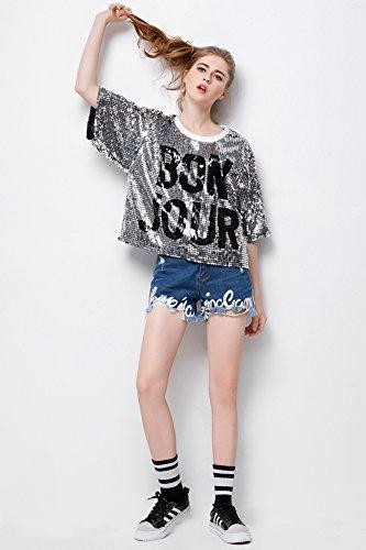 aa8cc5450 P&R Womens Fashion Sequins Sparkle Glitter Plus Size Blouses Hip Hop Shirt  Tank Top Clubwear