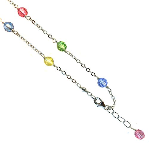 JOSCO Faceted Round Multi-Color Crystal Anklet, Bracelet. 925 Sterling Silver 6,7,8,9,10,11,12,13 Inches