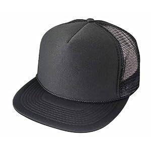 Flat Billed Trucker Cap With Mesh Back M L XL Adjustable Hat (in 14 Colors) Caps
