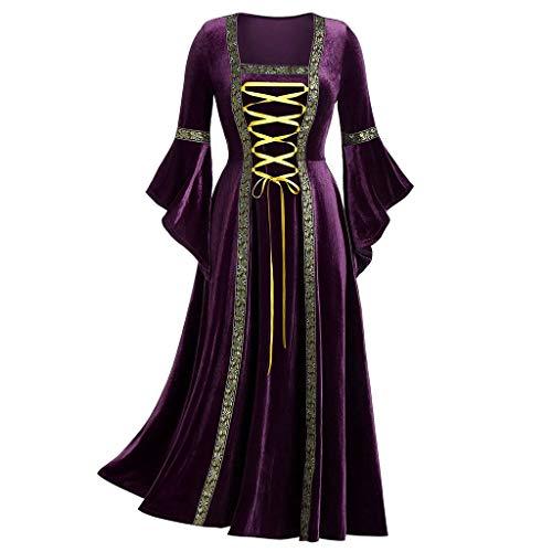 LODDD Women's Gothic Punk Clothes Medieval Fashion Plus Size Patchwork Bandage Long Sleeve Dress ()