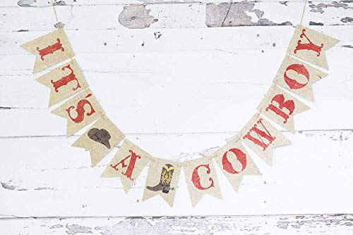 It's A Cowboy Banner for Western Baby Shower or Gender Reveal Party -