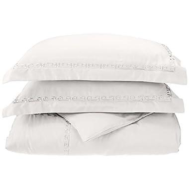 600 Thread Count 100% Egyptian Cotton, King/California King Duvet Cover Set, Embroidery Greek Key Border, White