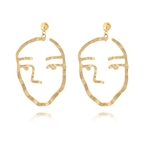 Vintage Metal Human Face Shaped Earrings Hollow Geometry Stud Woman - Shaped Long Face