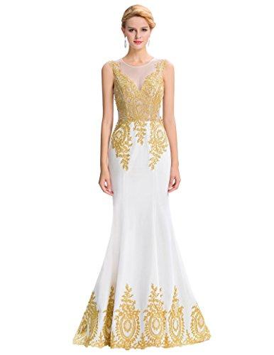 Belle Long Prom Dress - Vestido - ajustado - Sin mangas - para mujer blanco