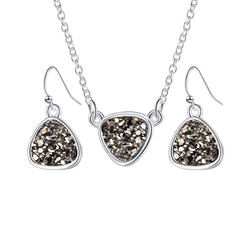 MissNity Chic Simulated Druzy Jewelry Set for Girls Womens Silver Tone Plated Pendant Necklaces and Drop Earrings (B01-gray)