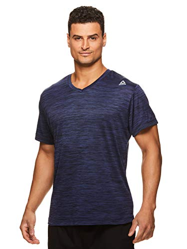 Reebok Men's V-Neck Workout Tee - Short Sleeve Gym & Training Activewear T Shirt - Neptune Navy Heather, Small