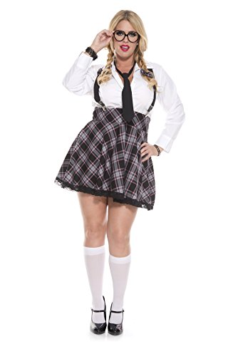 School Girl Plus Size (Music Legs Women's Plus-Size High Class Nerdy, Grey/Black,)