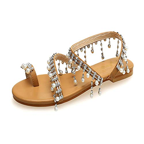 Xiakolaka Womens Sandals Flat,Beaded Toe Ring Casual Wedding Pearl Shoes Gold -