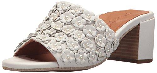 Gentle Souls Women Chantel-La 2 Floral Applique Mid-Heel Slip on Mule Heeled Sandal White