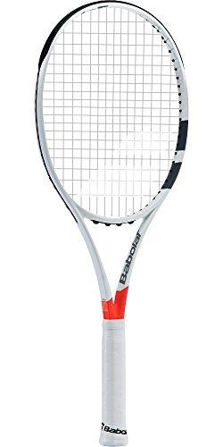 Babolat Pure Strike Team Grey / Orange Tennis Racquet (4″ Grip) Strung with Grey Tennis Racket String