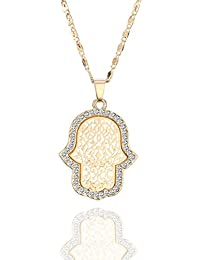 Choker Necklace for Women,Hamsa Hand Pendant Necklace with CZ Crystal Girls Long Chain Necklace