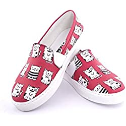 Streetfly Fashion Sneakers For Women - Slip On Shoes, Red White Cat Animal Print (8.5 B(M) US/39 M (EU), VNS902)